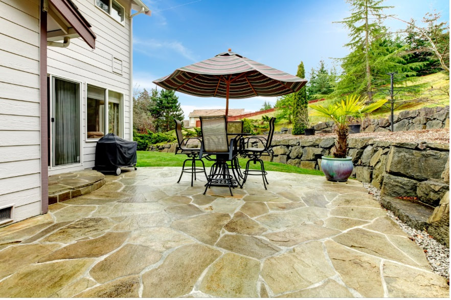 stamped and textured decorative concrete patio - Plano Texas